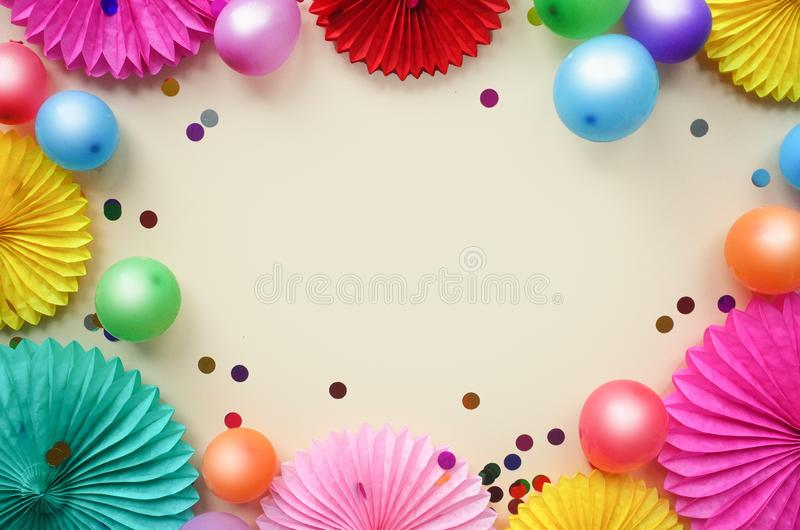 Background with different circle paper and baloons of origami. Birthday, holiday or party background. Flat lay style. Background with different circle paper and stock images