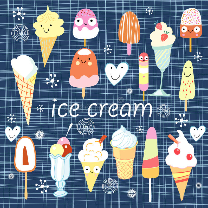 Background with a different ice cream