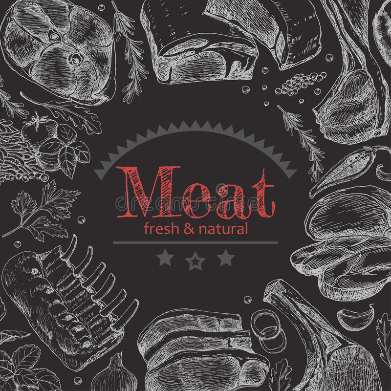 Background with different meat products vector illustration
