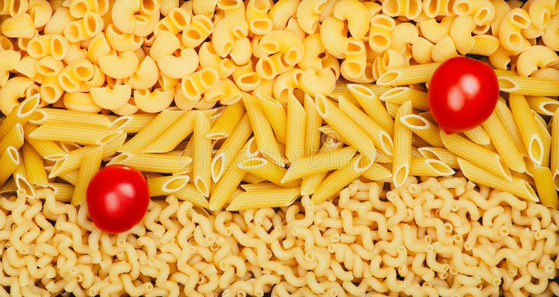 Background from different pasta types stock image