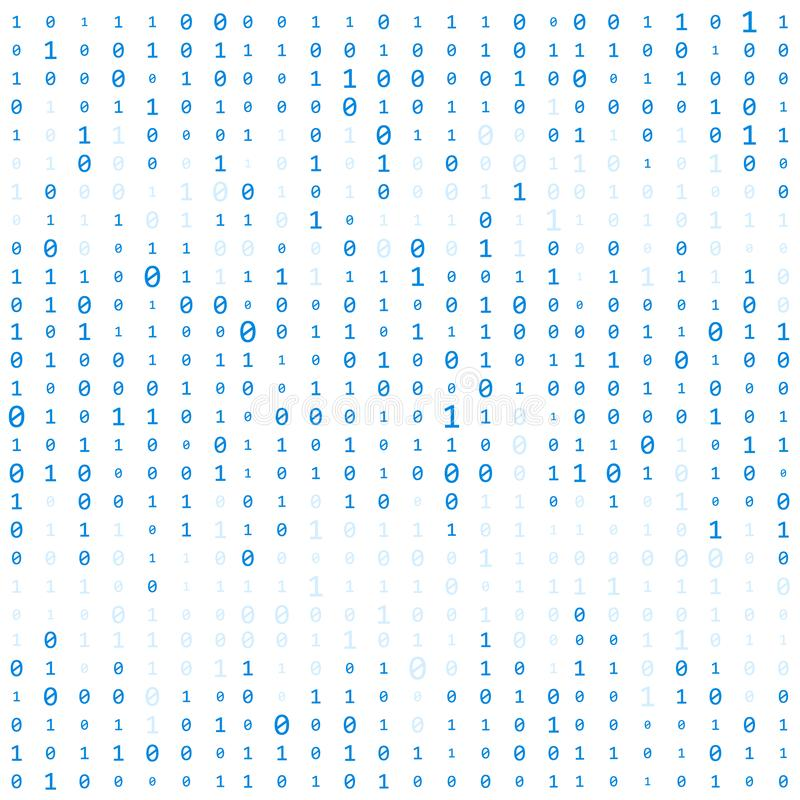 Background With Digits On Screen. binary code zero one matrix white background. banner, pattern, wallpaper. Abstract stock illustration
