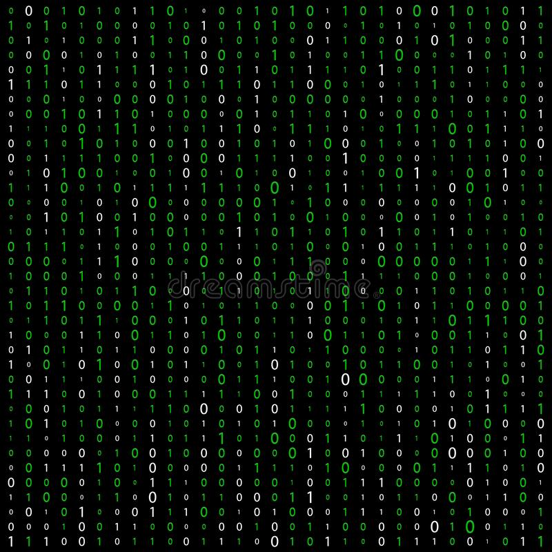 Background With Digits On Screen. binary code zero one matrix white background. banner, pattern, wallpaper. Abstract Matrix stock illustration