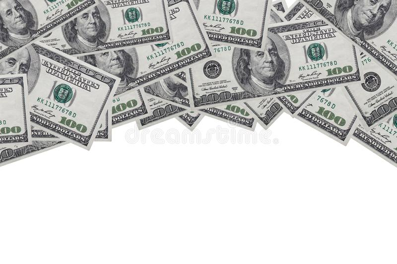 Background of 100 dollar bills on a white background with a place for records, copy space royalty free stock image