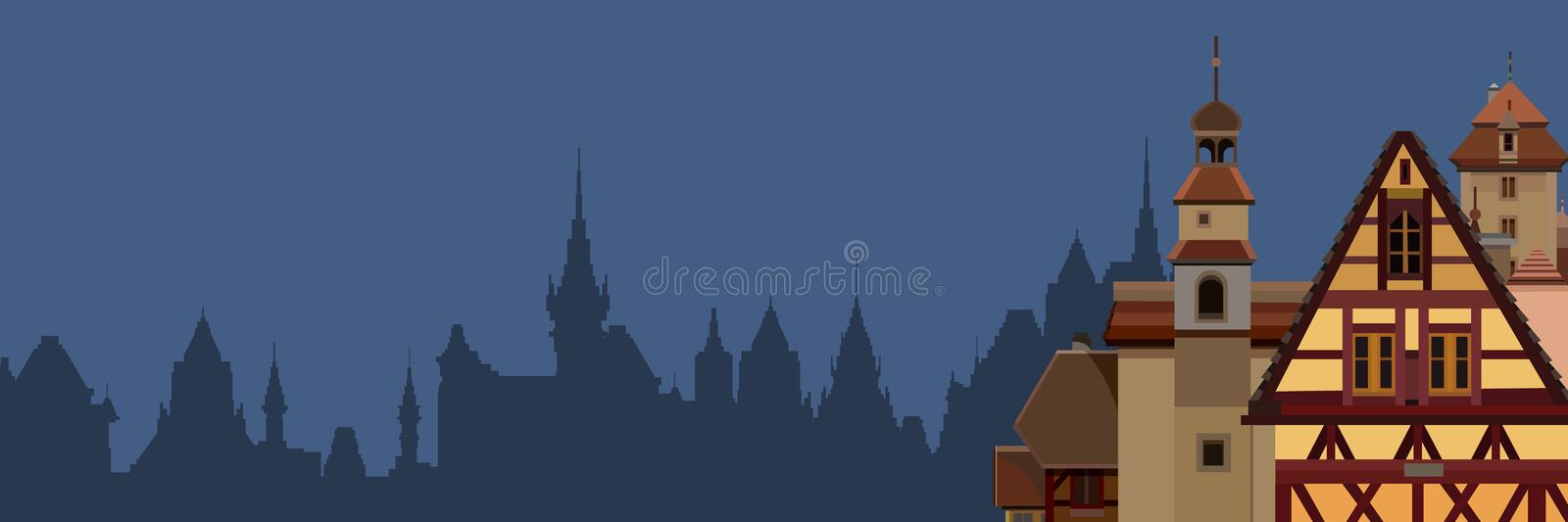 Background of a drawn silhouette of a European city with half timbered houses vector illustration