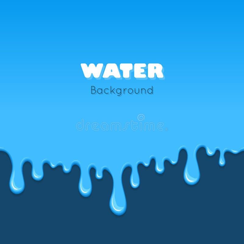 Background of dribble blue liquid. stock illustration