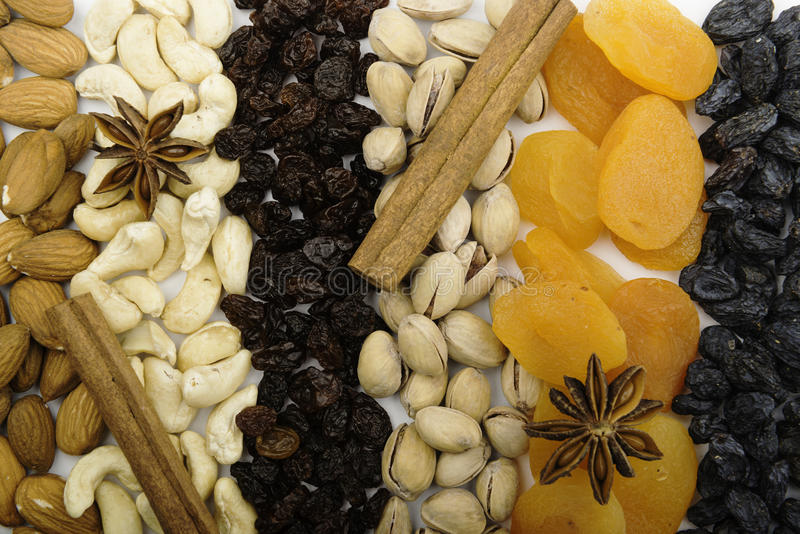 Background of dried fruits and nuts royalty free stock photography