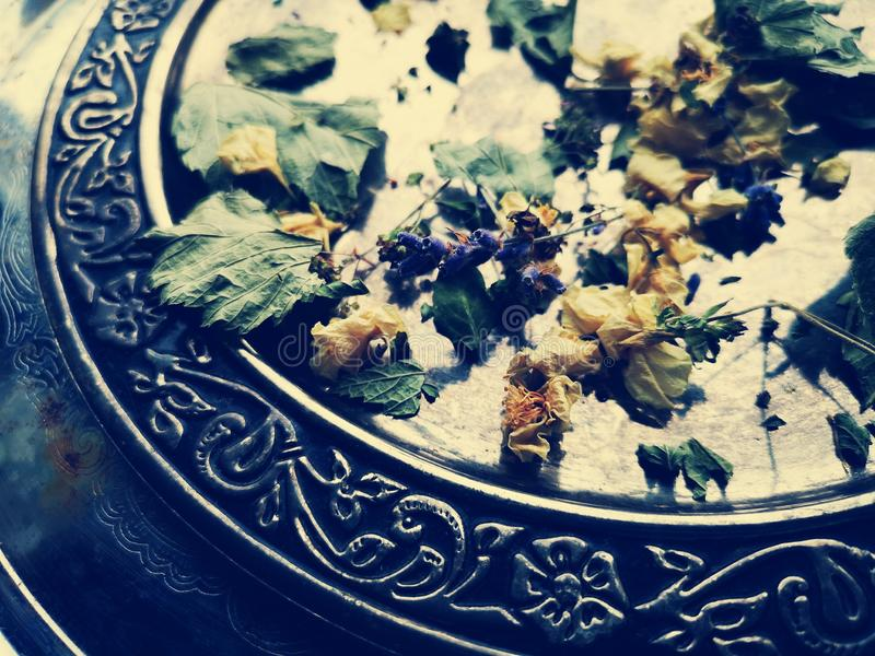 Background of dried herbs. Dried herbs background with metal tray stock image