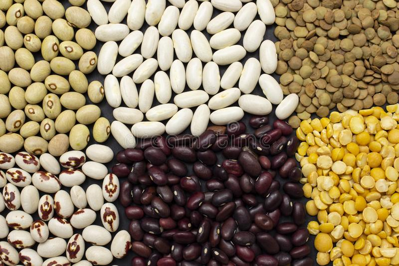 Background of dyfferent types of beans.  royalty free stock image