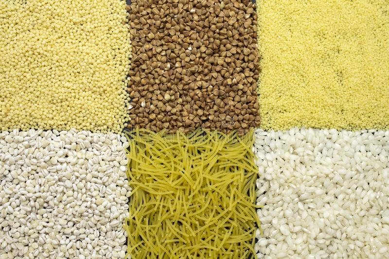 Background of dyfferent types of cereals.  stock photography