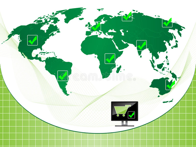 Background E-commerce check. A world background e-commerce check concept showing