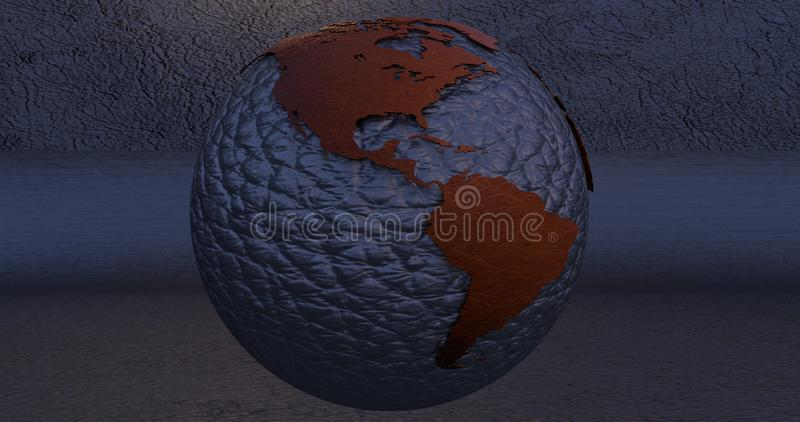 A background with the Earth planet made of lead, which shows the America continent. Background with the Earth planet made of lead, which shows the America stock illustration