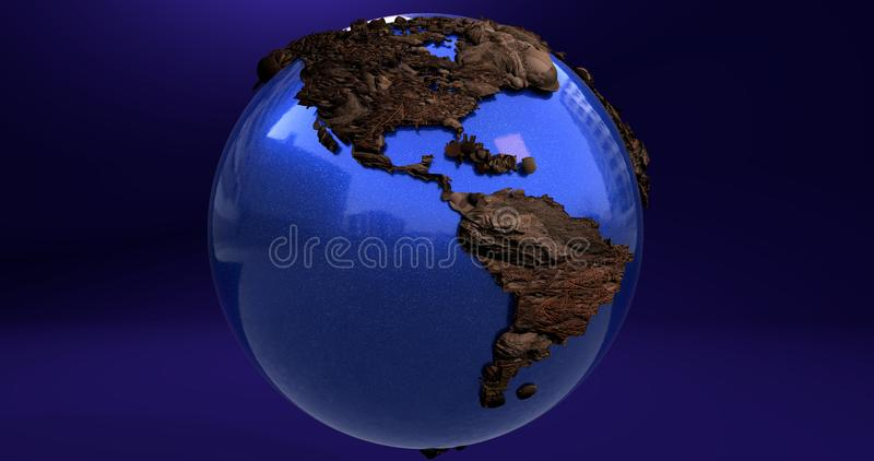 A background with the Earth planet made of wood, which shows the America continent. Background with the Earth planet made of wood, which shows the America royalty free illustration