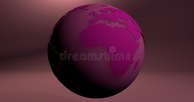 A background with the Earth planet in pink color, which shows the Africa continent. royalty free illustration