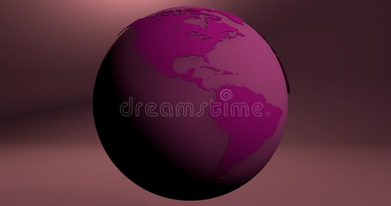 A background with the Earth planet in pink color, which shows the America continent. Background with the Earth planet in pink color, which shows the America royalty free illustration