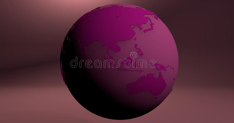 A background with the Earth planet in pink color, which shows Australia and Asia continents. Background with the Earth planet in pink color, which shows stock illustration