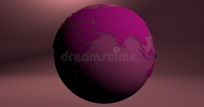 A background with the Earth planet in pink color, which shows the Europe and Asia continents. Background with the Earth planet in pink color, which shows the stock illustration