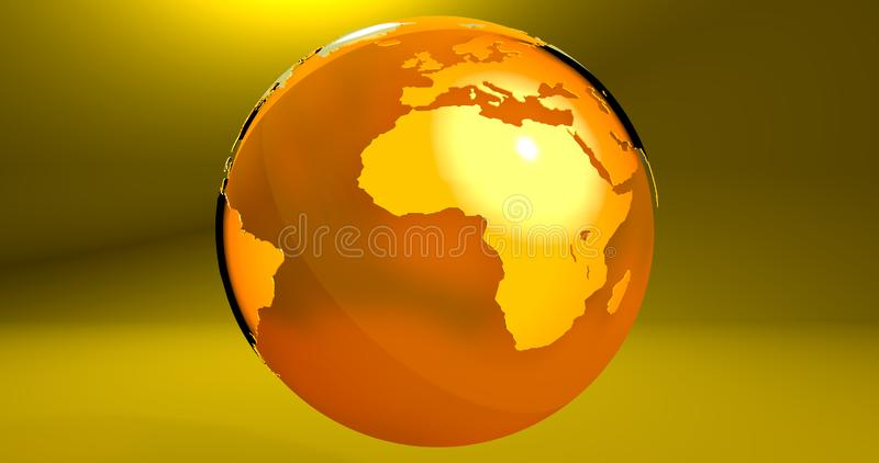 A background with the Earth planet in yellow color, which shows the Africa continent. Background with the Earth planet in yellow color, which shows the Africa stock illustration