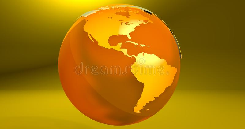 A background with the Earth planet in yellow color, which shows the America continent. Background with the Earth planet in yellow color, which shows the America vector illustration
