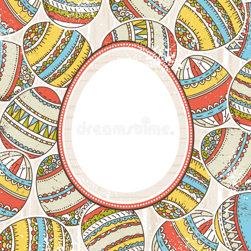 Background with easter eggs and label for text royalty free illustration