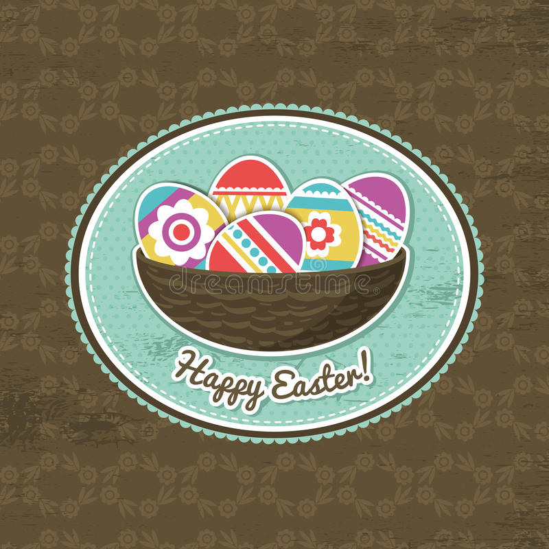 Background with easter eggs and label stock illustration