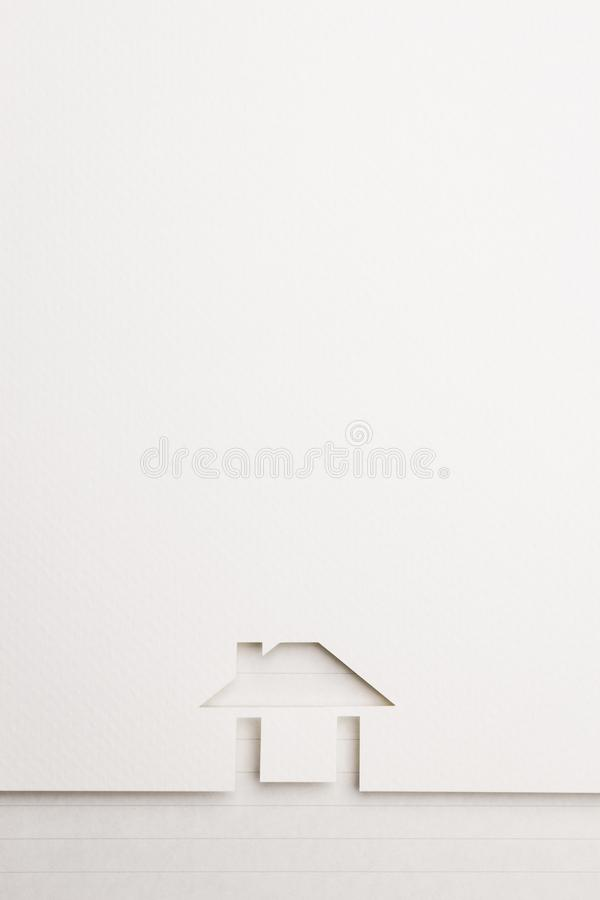 Background of easy house on notepaper border royalty free stock photo