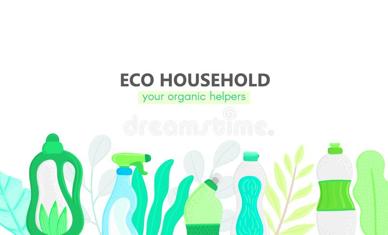 Background with eco friendly household cleaning supplies and leaves. Natural detergents. Products for house washing stock illustration