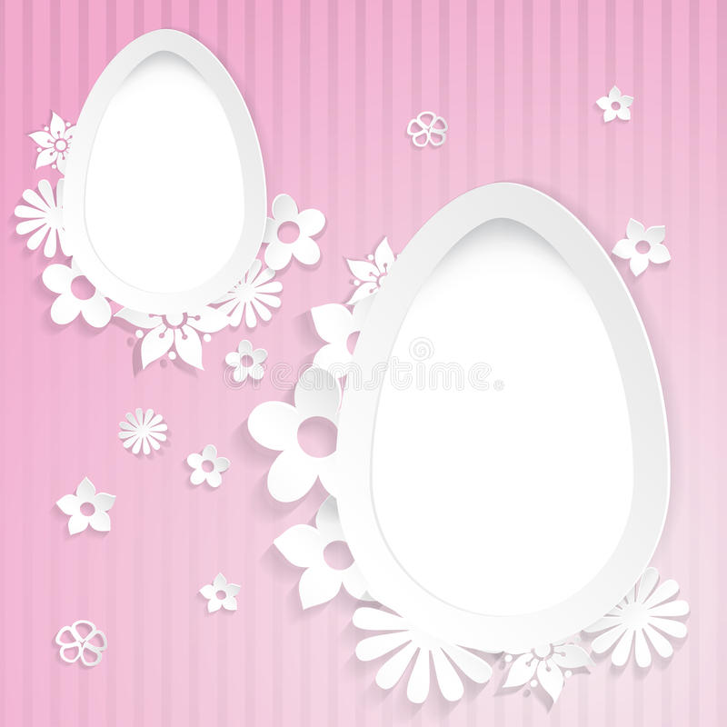 Background with eggs and paper flowers on pink royalty free illustration