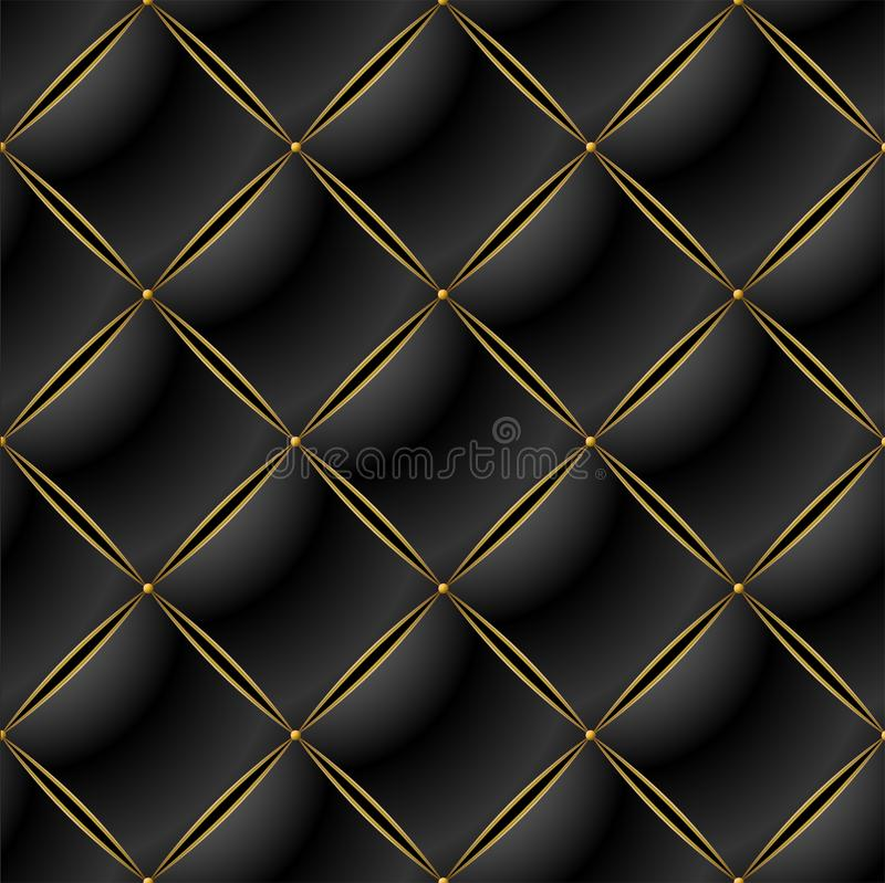 Background of Elegant Quilted Pattern Vip Black and Gold line royalty free illustration