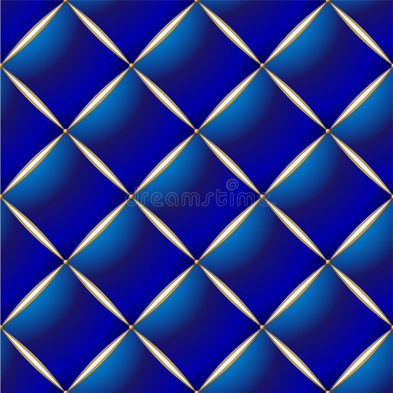 Background of Elegant Quilted Pattern Vip Blue and Gold line royalty free illustration