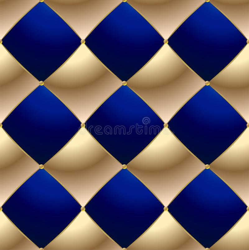 Background of Elegant Quilted Pattern Vip Blue and Gold vector illustration