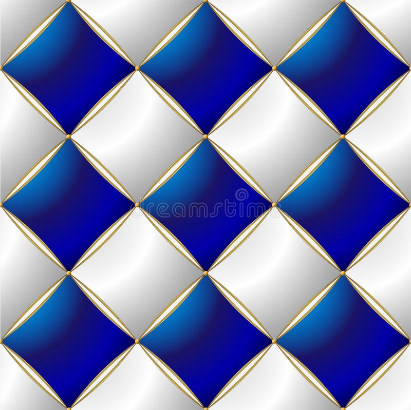 Background of Elegant Quilted Pattern Vip Blue, White and Gold line stock illustration