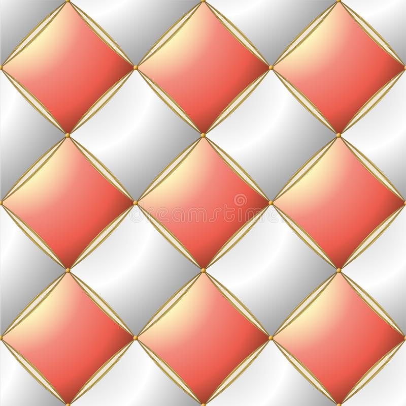 Background of Elegant Quilted Pattern Vip Pink Pastel, White and Gold line royalty free illustration