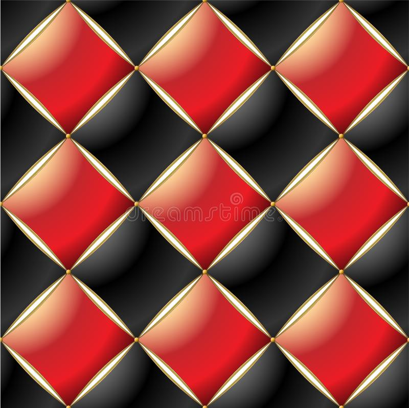Background of Elegant Quilted Pattern Vip Red, Black and Gold line vector illustration