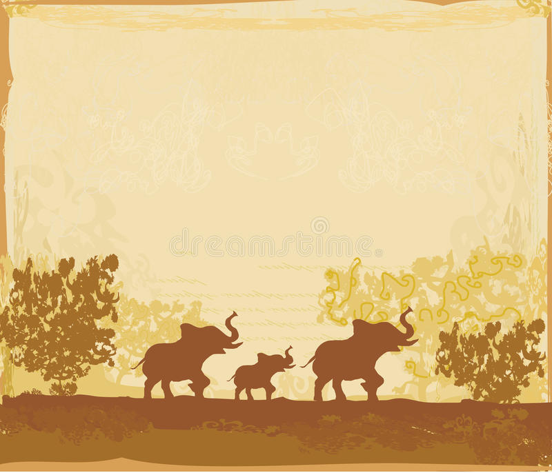 Download Background With Elephant Family Stock Illustration - Image: 32196973