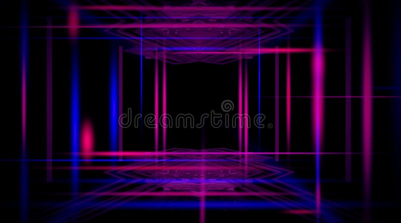 Background of an empty black corridor with neon light. Abstract background with lines and glow. Abstract black background with neon lights, lines and lights stock illustration