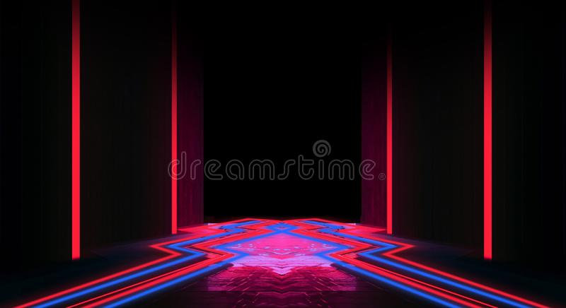 Background of an empty black corridor with neon light. Abstract background with lines and glow. Abstract black background with neon lights, lines and lights royalty free illustration