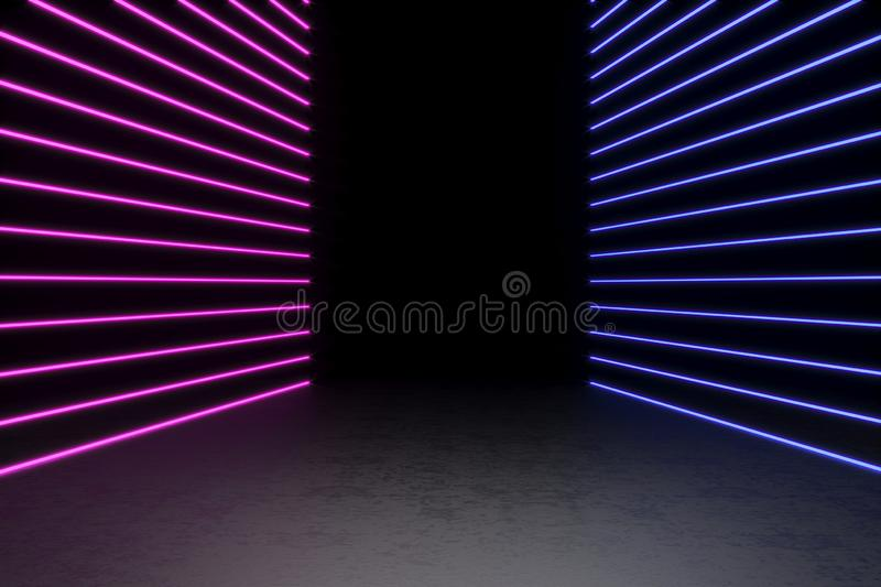 Background of an empty black corridor with neon light. Abstract background with lines and glow. 3d rendering. Background of an empty black corridor with neon stock image