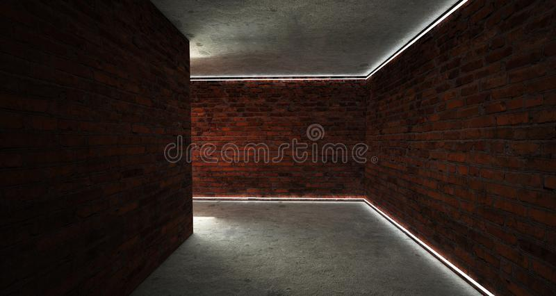 Background of an empty corridor with brick walls and neon light. Brick walls, neon rays and glow. Dark basement room, empty old brick wall, sparks of fire and royalty free stock images
