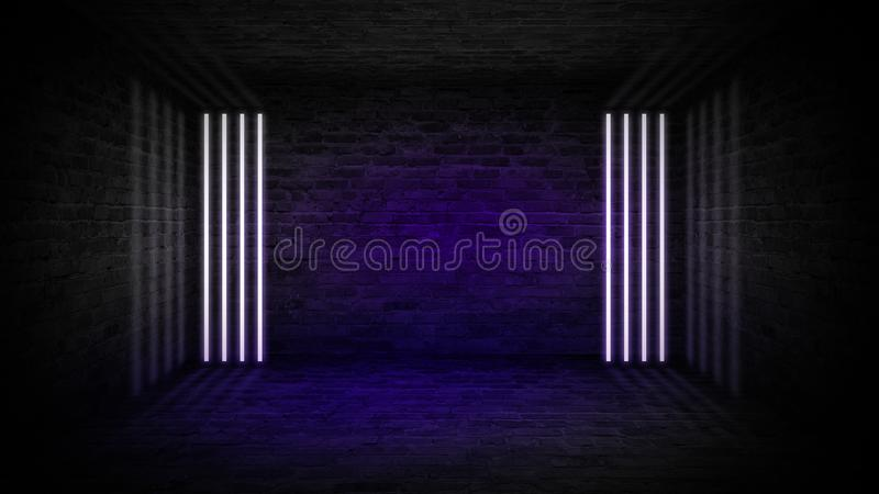 Background of an empty corridor with brick walls and neon light. Brick walls, neon rays and glow. Background of an empty dark-black room. Empty brick walls stock photos