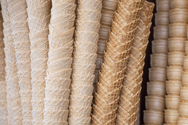 Background with empty crispy ice cream cones royalty free stock image