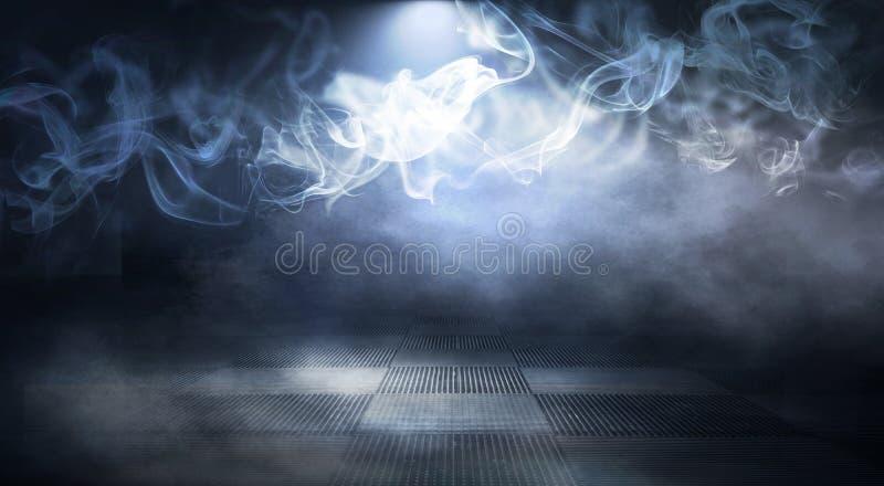 Background of an empty dark-black room. Empty brick walls, lights, smoke, glow, rays. Dark street with smoke, smog, street light, abstract light, night city stock image