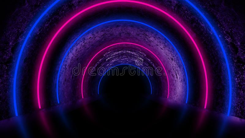 Background of an empty dark room with a concrete floor, multicolored neon circles in the center royalty free stock photography