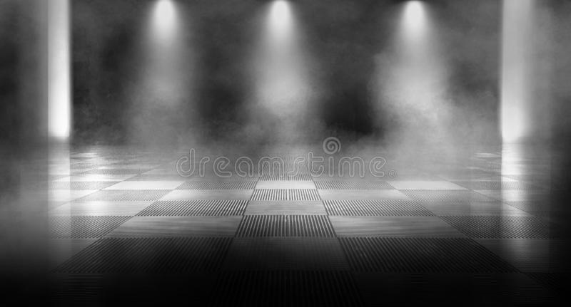Background of an empty dark room, smoke and dust. stock photos