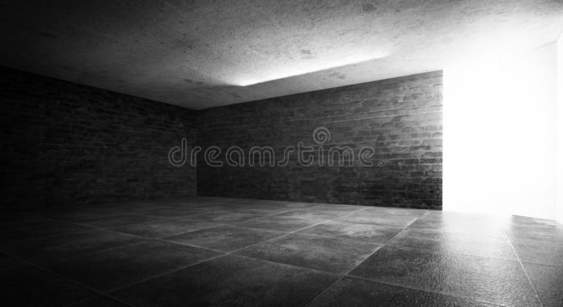 Background of an empty dark room, smoke and dust. royalty free stock photos