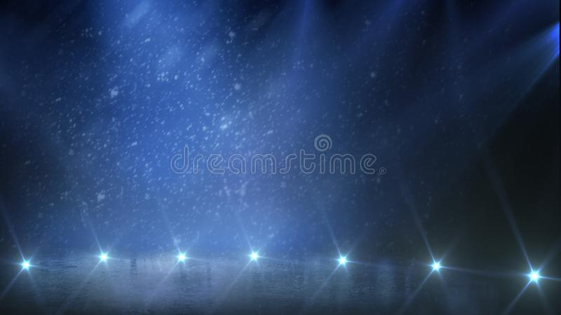 Background. Empty ice rink with lights. stock photography