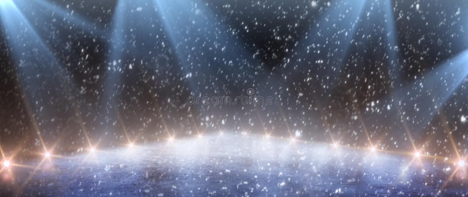 Background. Empty ice stadium with lights. stock image