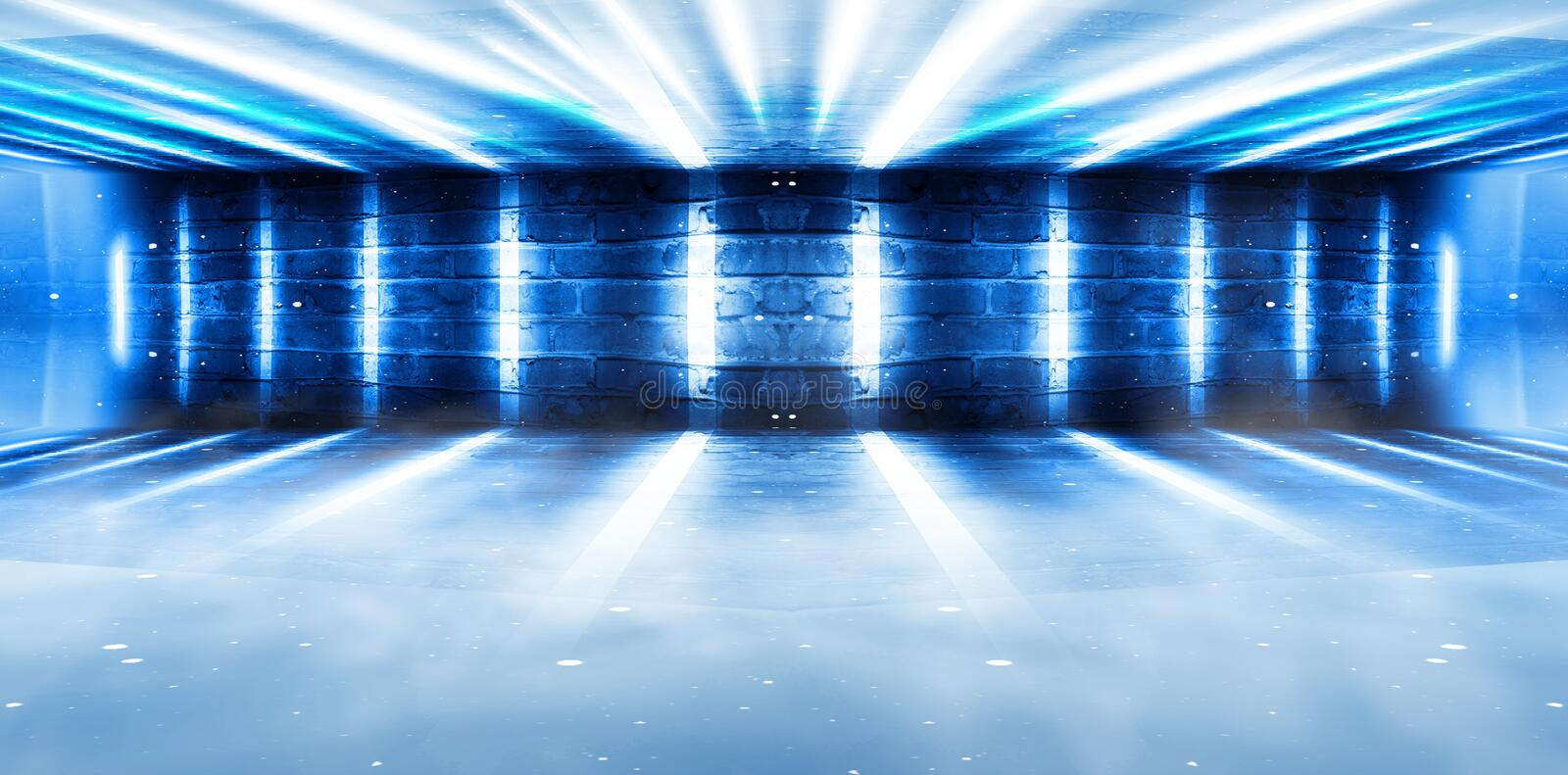 Background of an empty room at night with smoke and neon light. Dark abstract background. Background of an empty show scene. Smoke go to the floor with neon stock images