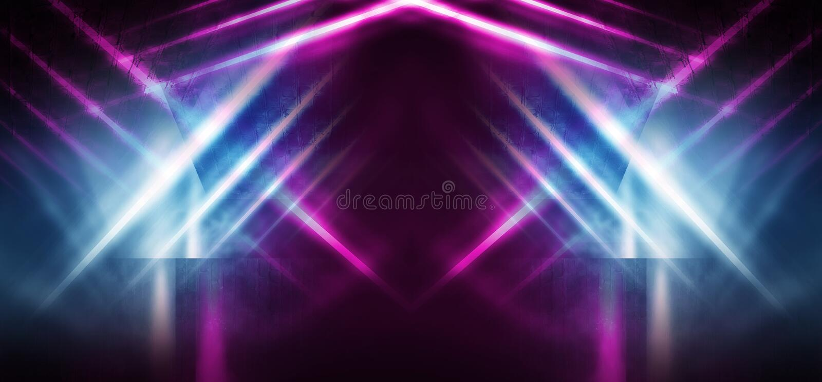 Background of an empty room at night with smoke and neon light. Dark abstract background. Background of an empty show scene. Smoke go to the floor with neon royalty free illustration