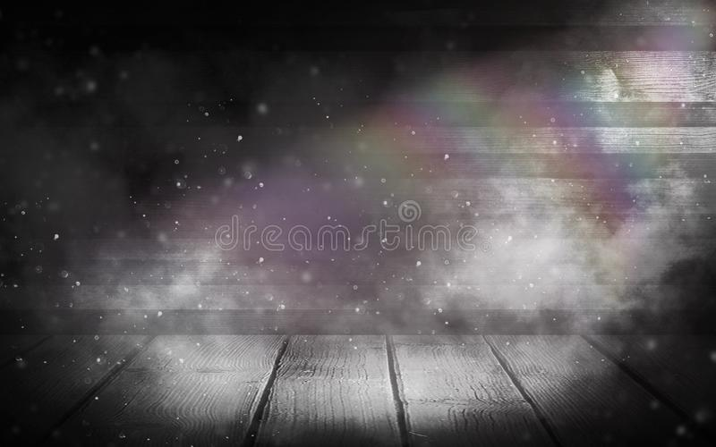 Background of an empty wall, a ray of light in the basement, smoke, neon light. Magic royalty free stock photo