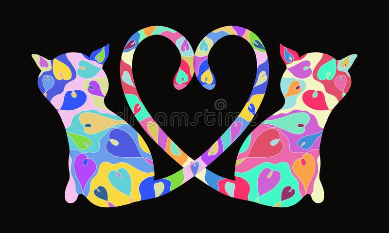Background with enamored cats with an exquisite pattern, romance. Background with enamored cats with an exquisite pattern stock illustration